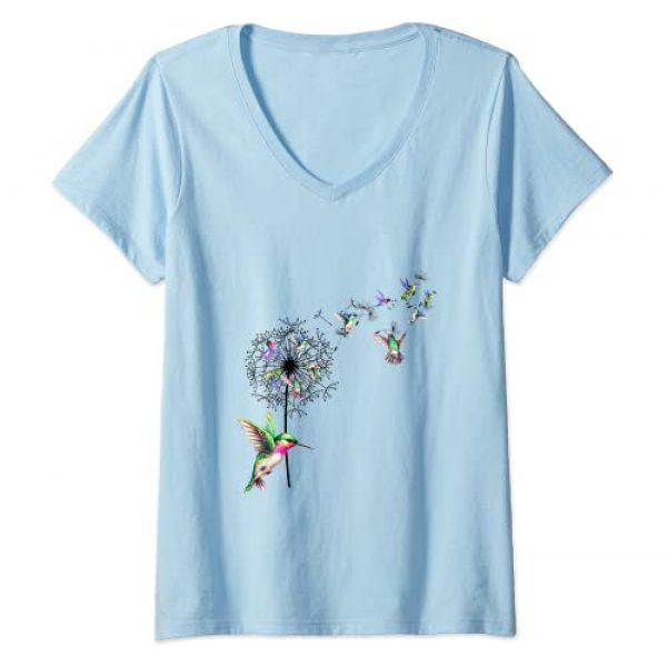 Bird Hummingbird Shirt Graphic Tshirt 1 Womens Bird Hummingbird Dandelion Flowers Shirt For Women Men V-Neck T-Shirt