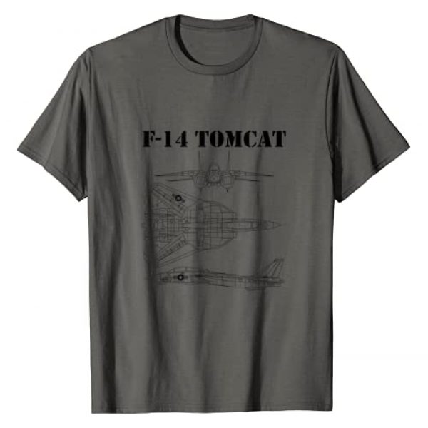 The Salty Veteran Graphic Tshirt 1 Vintage Black F14 Tomcat Airplane Schematic F-14 Jet T-Shirt