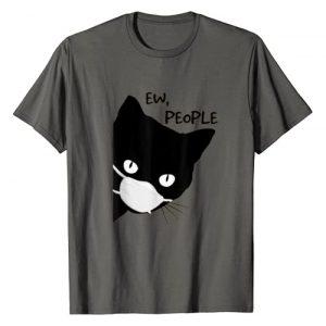 Ew, People Vintage Funny Cat Lover Gift Graphic Tshirt 1 Ew people - Black Cat Mask- Quarantine 2020 Tee T-Shirt