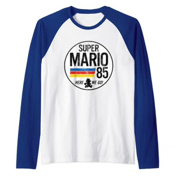 Nintendo Graphic Tshirt 1 Super Mario Here We Go '85 Retro Raglan Baseball Tee