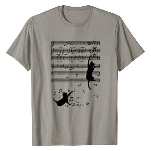 Happy Black Cat Lovers Apparel Graphic Tshirt 1 Funny Black Cat Climbing Playing Sheet Music Note Gift Idea T-Shirt