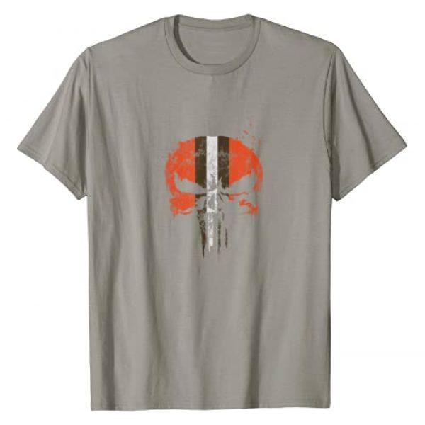 Josh's Tees Graphic Tshirt 1 Football Helmet Skull Orange Brown & White T-Shirt