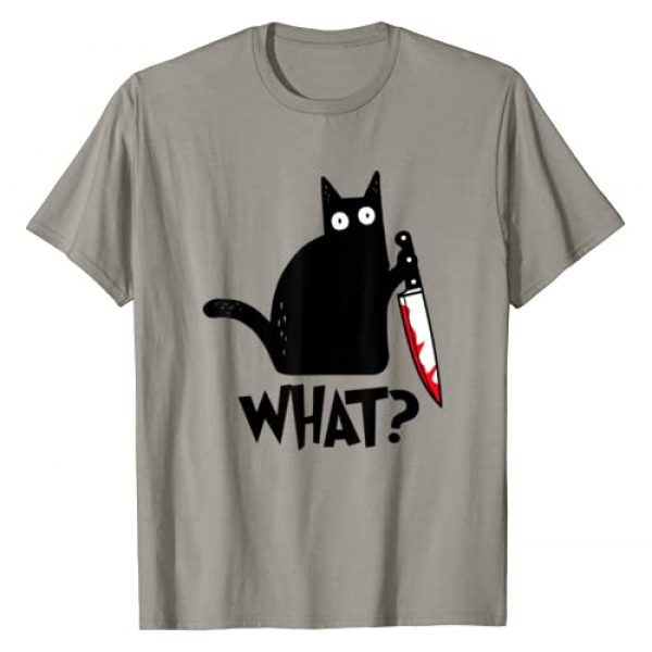 Cat What Shirt Graphic Tshirt 1 Cat What Funny Black Cat Shirt, Murderous Cat With Knife T-Shirt