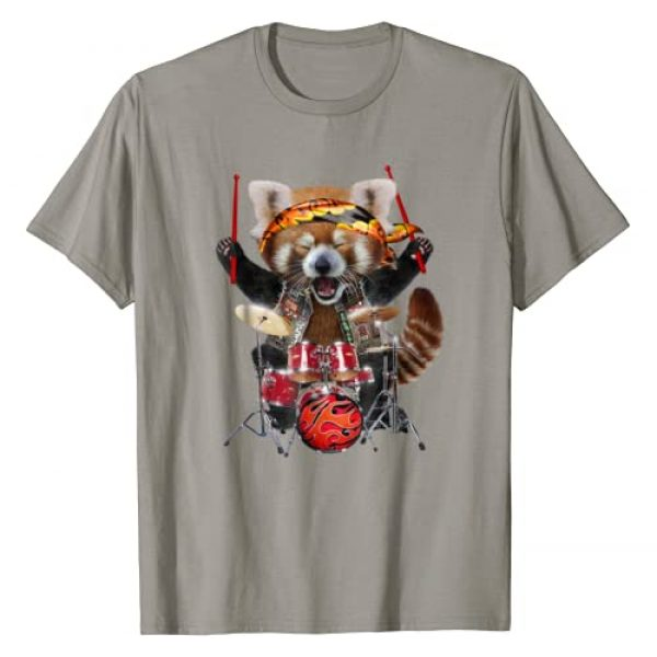 Fox Republic T-Shirts Graphic Tshirt 1 Punk Red Panda Play Drum in Heavy Metal Band - T-Shirt