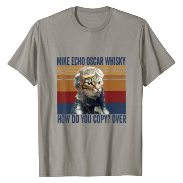 Retro Cat Pilot Mike Echo Oscar Whisky Graphic Tshirt 1 Cat Pilot Mike Echo Oscar Whisky How Do You Copy Tshirt T-Shirt