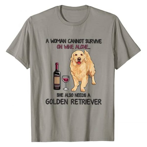 Funny Golden Retriever Lover Tee Shirt Graphic Tshirt 1 A Woman Cannot Survive On Wine Alone Golden Retriever T-Shirt