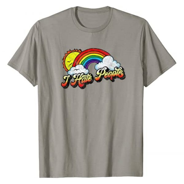Giant Step Design Co. Graphic Tshirt 1 I Hate People Funny Antisocial Distressed Vintage Rainbow T-Shirt