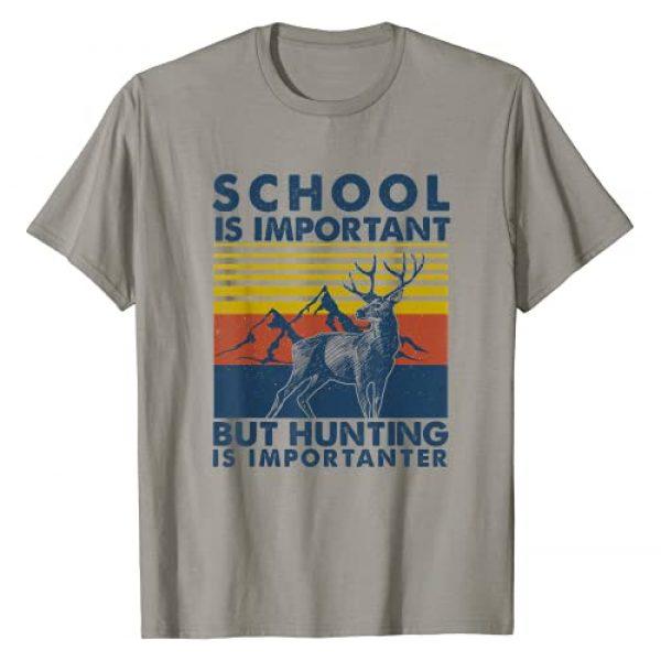 Deer Hunting Season Vintage Silhouette Retro Tee Graphic Tshirt 1 School Is Important But Hunting Is Importanter Deer Hunting T-Shirt