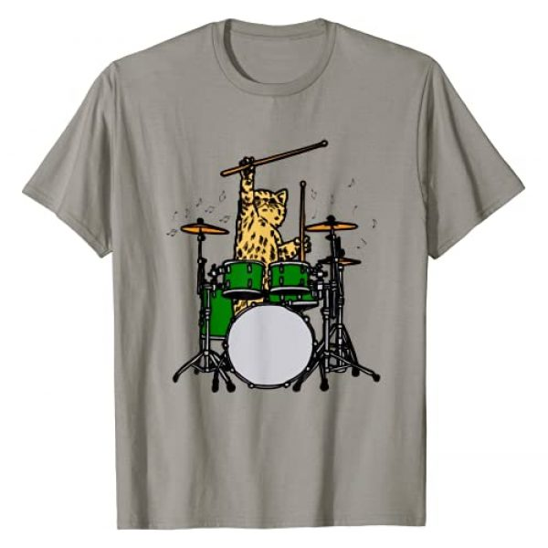 Cat plays drums Graphic Tshirt 1 Drummer Cat Music Lover Musician Playing The Drums T-Shirt T-Shirt