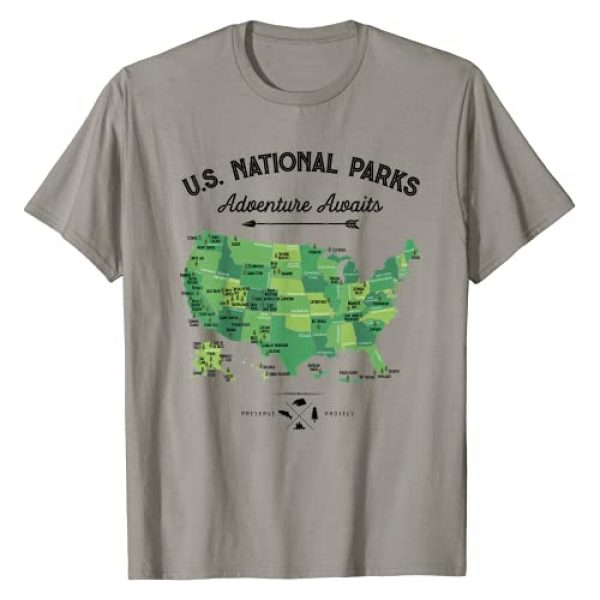 All 62 National Parks Co Graphic Tshirt 1 62 National Parks Map Gifts US Park Vintage Camping Hiking T-Shirt