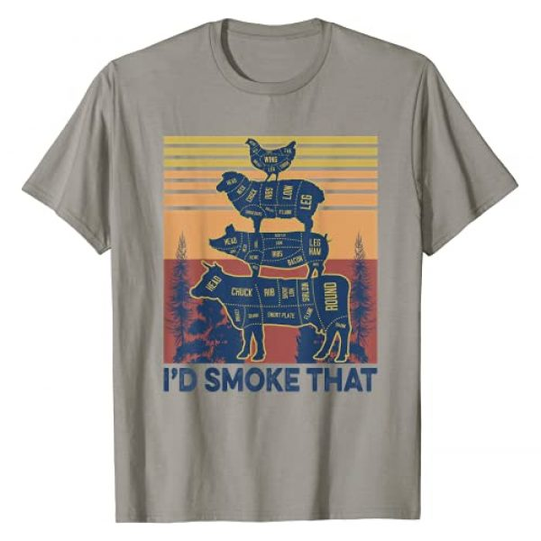 Grill Master Grill Father BBQ Barbeque Party Gift Graphic Tshirt 1 I'd smoke that Beef Pork Chicken Butcher Cut Funny Grilling T-Shirt