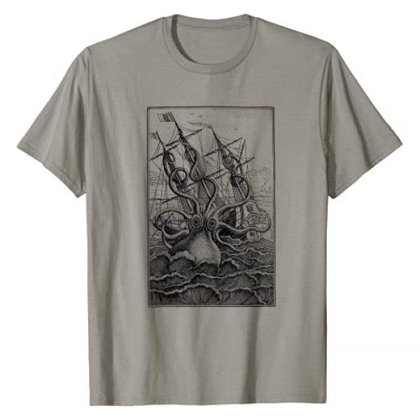Pirate Giant Octopus Graphic Tshirt 1 Giant Octopus Pirate Ship Vintage Kraken Sailing Squid T-Shirt