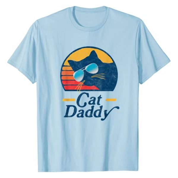 Pet Mom & Dad Retro Cat Tees Graphic Tshirt 1 Cat Daddy Vintage 80s Style Cat Retro Sunglasses Distressed T-Shirt