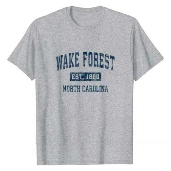 Wake Forest NC Retro T-Shirts & Tees Graphic Tshirt 1 Wake Forest North Carolina NC Vintage Sports Design Navy T-Shirt